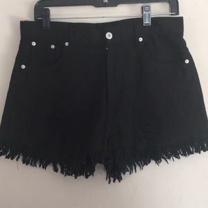 Black high waisted destroyed jean shorts
